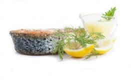 Salmone e limone arrostiti Immagine Stock
