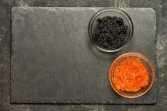 Salmone rosso e caviale nero dello stugeon Fotografia Stock