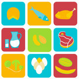Salmonella contaminated food. Icons. Stock vector illustration of products that may cause poisoning and typhoid fever . Medicine and biology collection. Flat Stock Photography