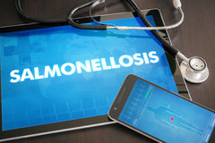Salmonellosis (infectious disease) diagnosis medical concept on. Tablet screen with stethoscope Stock Images