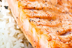 Salmones asados a la parilla con arroz. Macro Fotos de archivo