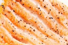 Salmones asados a la parilla. Macro Fotos de archivo