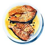 Salmones asados a la parrilla con la pimienta negra, pescado frito encendido Foto de archivo