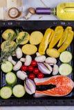 Salmones con el paprika, la patata, la cebolla azul, las setas, los tomates, y Rosemary Fotografía de archivo