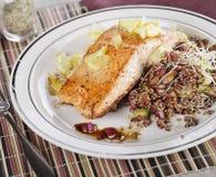 Salmones con la ensalada de la quinoa imagen de archivo libre de regalías