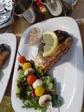 salmones con la salsa y la ensalada de camarón Foto de archivo libre de regalías