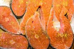 Salmones crudos Fotografía de archivo libre de regalías