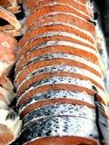 Salmones crudos frescos cortados Fotos de archivo libres de regalías