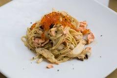 Salmones de los espaguetis Imagenes de archivo