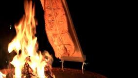 Salmones en el fuego abierto almacen de metraje de vídeo