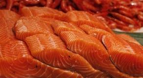 Salmones en una tienda de los pescados Imágenes de archivo libres de regalías