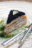 Salmones fumados con el caviar Foto de archivo