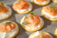 Salmones, queso poner crema, y galletas fumados del eneldo Fotografía de archivo