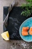 Salmones salados con eneldo Imagen de archivo