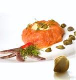 Salmones tartare Foto de archivo libre de regalías