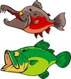 Salmones y largemouthbass stock de ilustración