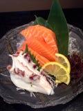 Salmones y pulpo del Sashimi Fotografía de archivo