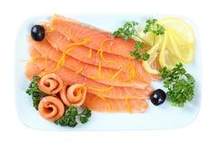 Salmoni affettati Fotografia Stock
