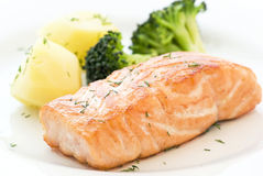 Salmoni con broccolo fotografia stock libera da diritti