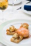 Salmoni con i grafici a torta del soffio Immagini Stock