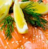 Salmoni con il limone Fotografia Stock