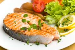 Salmoni cotti con alto vicino del pomodoro e della lattuga Immagini Stock Libere da Diritti