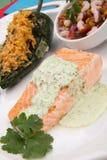 Salmoni cotti con Cilantro - crema del Jalapeno Fotografia Stock