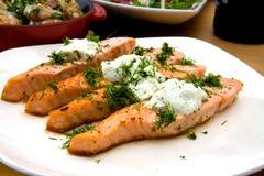 Salmoni cotti con formaggio e le erbe Fotografia Stock