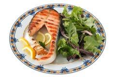 Salmoni cotti con insalata Fotografia Stock Libera da Diritti