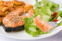 Salmoni cotti con lattuga 8 Fotografie Stock