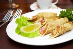 salmoni della zolla dei pancake Fotografia Stock