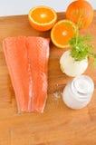 Salmoni e verdure cotti Fotografie Stock