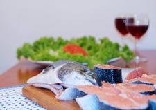 Salmoni e vino immagine stock libera da diritti