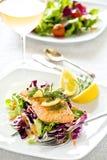 Salmoni ed insalata Immagine Stock