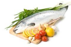 Salmoni freschi con le verdure Immagine Stock Libera da Diritti