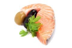 Salmoni, oliva e prezzemolo Fotografia Stock