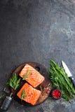 Salmoni Pesci di color salmone freschi Filetto di pesce di color salmone crudo fotografie stock