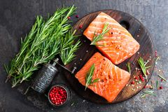 Salmoni Pesci di color salmone freschi Filetto di pesce di color salmone crudo fotografia stock