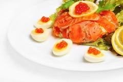 Salmoni rossi e caviale Fotografia Stock