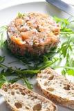 Salmoni tartare Fotografia Stock Libera da Diritti