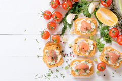 Salmons and cheese Stock Photos