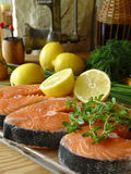 Salmons fillets. Fresh fish Stock Image
