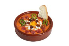 Salmorejo. Salomorejo is a typical dish of the city of Cordoba (Spain) with tomato and bread stock photos