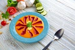 Salmorejo tapas karmowy surowy pomidorowy zupny Hiszpania Fotografia Royalty Free