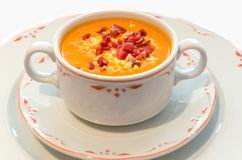 Salmorejo tomato bread and oil cold soup Stock Image