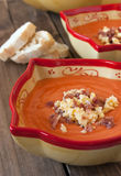 Salmorejo (tomato cream) on wooden background Stock Image