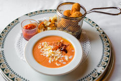 Salmorejo typical Andalusian dish with ham and egg Stock Image