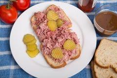 Salmouras cortadas no sanduíche da carne de porco do assado Fotos de Stock Royalty Free