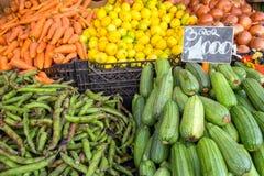 Salmouras, ervilhas e outros vegetais para a venda Foto de Stock