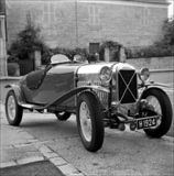Salmson antique roadster car, black and white stock photo